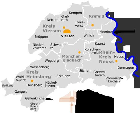 viersen karte Versorgungsbereich und Tagesklinikstandorte der LVR Klinik Viersen  viersen karte